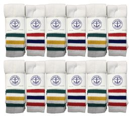 Yacht & Smith Men's Cotton Tube Socks, Referee Style, Size 10-13 White With Stripes BULK PACK 60 pack
