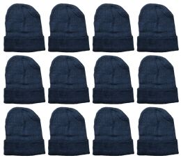 Yacht And Smith Warm Winter Beanie Solid Black 36 pack