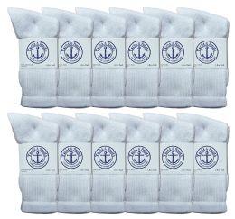 Yacht & Smith Women's Cotton Crew Socks White Size 9-11