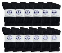Yacht & Smith Kids Cotton Terry Cushioned Crew Socks Black Size 6-8 Bulk Pack