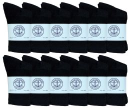 Yacht & Smith Kids Cotton Crew Socks Black Size 4-6 Bulk Pack
