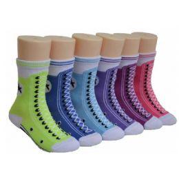 Girls Sneaker Print Crew Socks 480 pack