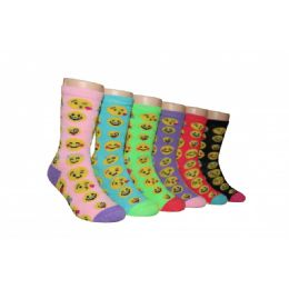 Girls Emoji Face Crew Socks 480 pack