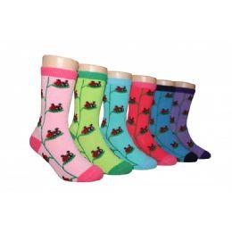 Girls Ladybug Crew Socks 480 pack