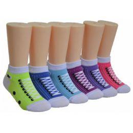 Girls Sneaker Print Low Cut Ankle Socks 480 pack