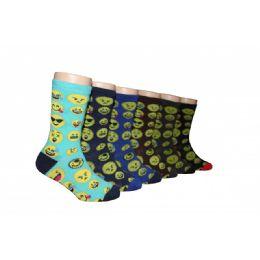 Boys Emoji Print Crew Socks 480 pack