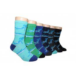 Boys Shark Print Crew Socks 480 pack