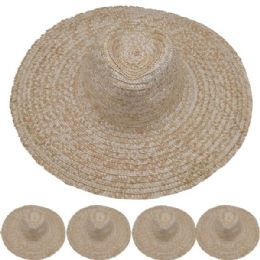 Adults Large Brim Straw Hat 24 pack
