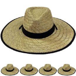 Adults Large Black Brim Straw Hat 12 pack