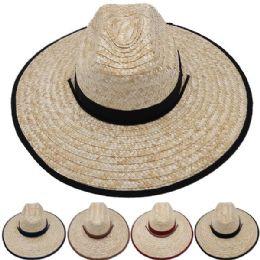 Adults Large Black Brim Straw Hat 24 pack