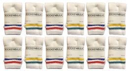 Yacht & Smith Kids Cotton Tube Socks White With Stripes Size 4-6 Bulk Pack