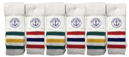 Yacht & Smith Women's Cotton Striped Tube Socks, Referee Style size 9-11 BULK PACK 60 pack