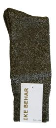 Ike Behar Men's Designer Glitter Dress Socks, Tuxedo Socks , Fits Shoe Sizes 7-12 Black Gold