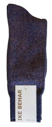 Ike Behar Men's Designer Glitter Dress Socks, Tuxedo Socks , Fits Shoe Sizes 7-12 Navy Gold