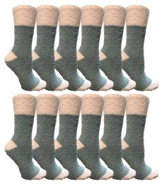 Yacht & Smith Women's Fuzzy Snuggle Socks , Size 9-11 Comfort Socks Teal With White Heel and Toe 60 pack