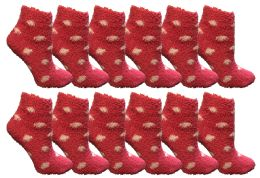 Yacht & Smith Girls Fuzzy Snuggle Socks Pink Polka Dots Size 6-8 36 pack