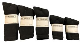 Mixed Sizes Of Cotton Crew Socks For Men Woman Children In Solid Black