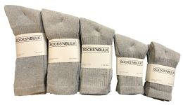 Mixed Sizes Of Cotton Crew Socks For Men Woman Children In Solid Gray 960 pack