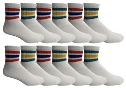 Yacht & Smith Men's King Size Premium Cotton Sport Ankle Socks Size 13-16 With Stripes BULK PACK 60 pack