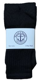 Yacht & Smith Kids Solid Tube Socks Size 6-8 Black Bulk Pack