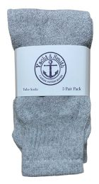 Yacht & Smith Kids Solid Tube Socks Size 6-8 Gray Bulk Pack