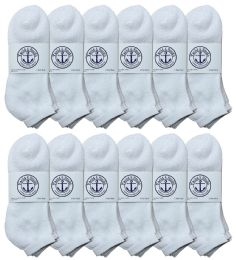 Yacht & Smith Men's King Size No Show Cotton Ankle Socks Size 13-16 White