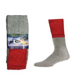 Mens Thermal Boot Socks Size 10-15 Extra Long And Warm In Red 240 pack