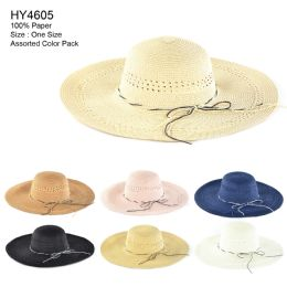 Womens Paper Sun Hat Assorted Color 30 pack
