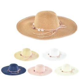 Womens Paper Sun Hat With Tied Rope Assorted Color 30 pack
