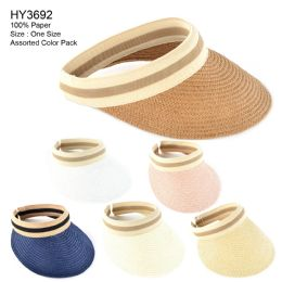 Womens Paper Sun Visor Assorted Color 30 pack