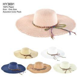 Womens Paper Sun Hat With Colored Rope Assorted 30 pack