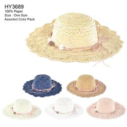 Womens Paper Sun Hat With Flower Rope Assorted Color 30 pack