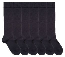 Yacht & Smith Womens Knee High Socks, Size 9-11 Solid Navy 6 pack