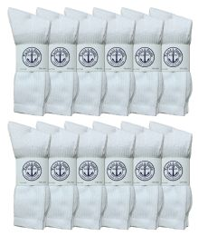 Yacht & Smith Men's Premium Cotton Crew Socks White Size 10-13 12 pack
