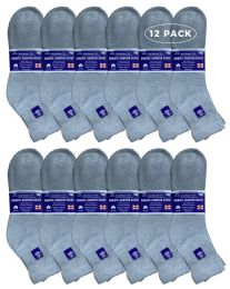Yacht & Smith Men's Loose Fit NoN-Binding Cotton Diabetic Ankle Socks, Gray King Size 13-16
