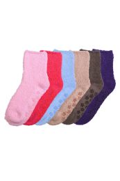 Solid Color Ladies' Fuzzy Socks with Anti Skid Assorted 120 pack