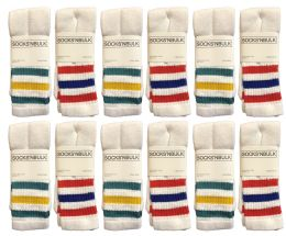 Yacht & Smith Women's Cotton Striped Tube Socks, Referee Style size 9-15 22 INCH 12 pack