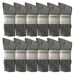 Yacht & Smith Men's Premium Cotton Crew Socks Gray Size 10-13 12 pack