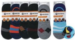 Mens No Show Loafer Socks Size 10-13 Assorted Prints, Priced Per Pair 72 pack
