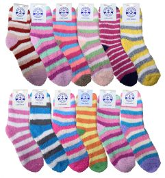 Yacht & Smith Women's Fuzzy Snuggle Socks , Size 9-11 Comfort Socks Assorted Stripes