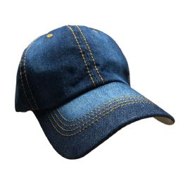 Yacht & Smith 100% Cotton Denim Baseball Cap With Gold Stitching.
