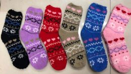 Women Fashion Print Pattern Fuzzy Socks Size 9-11 120 pack