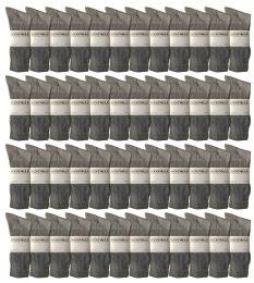 Yacht & Smith King Size Men's Cotton Terry Cushion Crew Socks Size 13-16 Gray