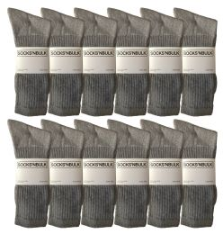 Yacht & Smith Men's King Size Premium Cotton Crew Socks Gray Size 13-16 12 pack