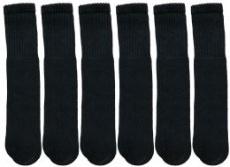 Yacht & Smith Women's Cotton Tube Socks, Referee Style, Size 9-15 Solid Black 22inch