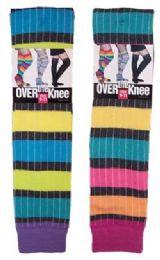 Women's Over the Knee Rainbow Stripe Socks 60 pack
