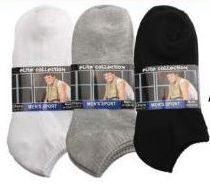 Men's 2 Pack Ankle Solid Colors, Sock Size 10-13 120 pack