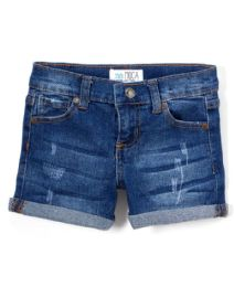 Girls' Premium Denim Shorts Size 4-6X 12 pack