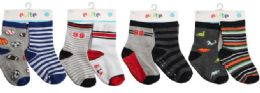 Toddler Boys Crew Socks Size 12-24 Moths With Gripper Bottoms 144 pack
