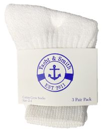 Yacht & Smith Kids Value Pack of Cotton Crew Socks Size 2-4 White 60 pack
